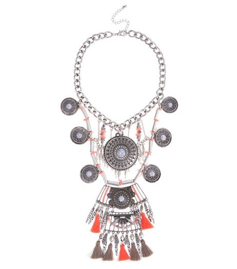 Pink Premium Tassel Coin Necklace | New Look