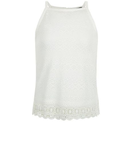 Teens Cream Crochet Panel Fine Knit Cami | New Look