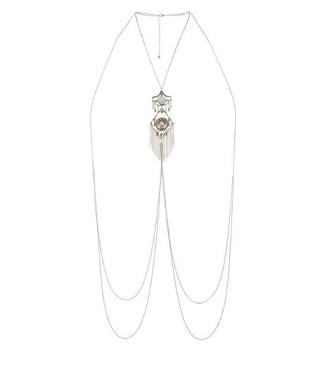 Silver Beaded Tassel Bodychain | New Look