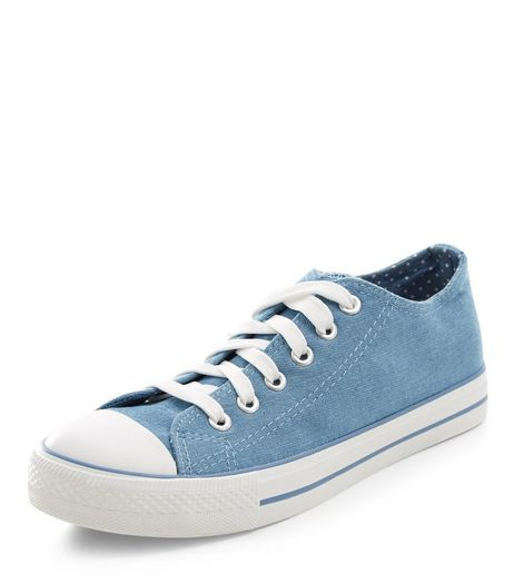 Teens Blue Denim Double Tongue Lace Up Plimsolls | New Look
