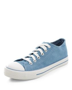 Teens Blue Denim Lace Up Plimsolls | New Look