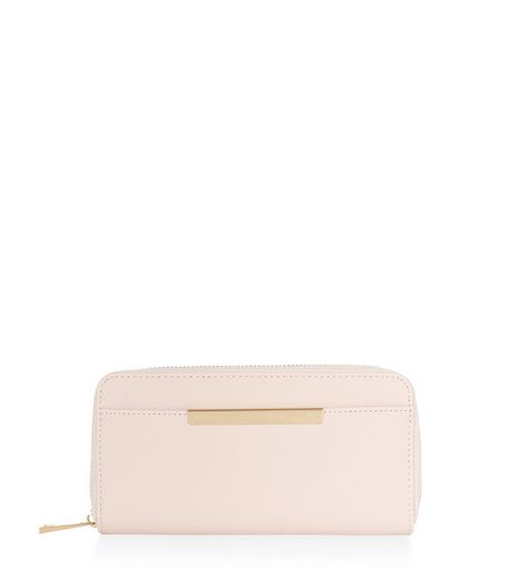 Shell Pink Metal Bar Zip Around Purse | New Look