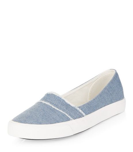 Teens Blue Denim Slip On Plimsolls | New Look