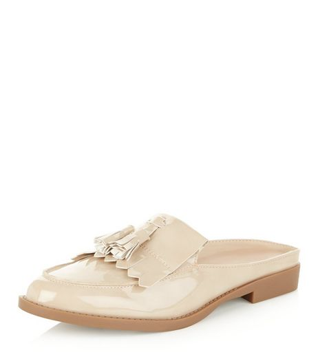 Cream Patent Tassel Front Mules  | New Look