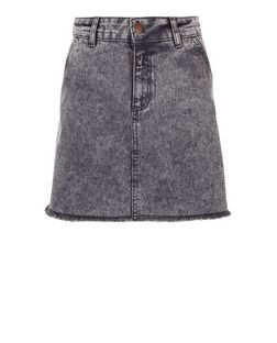Teens Grey A-line Denim Skirt | New Look