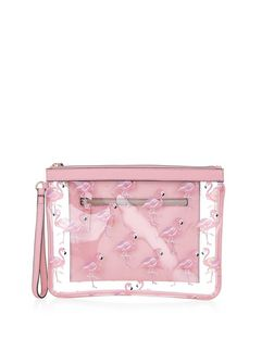 Pink Flamingo Print Zip Top Clutch | New Look