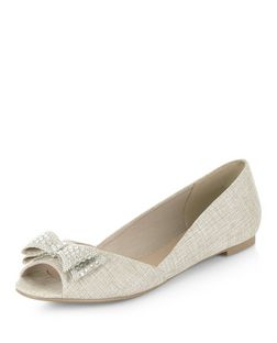 Cream Diamante Bow Front Peep Toe Pumps  | New Look