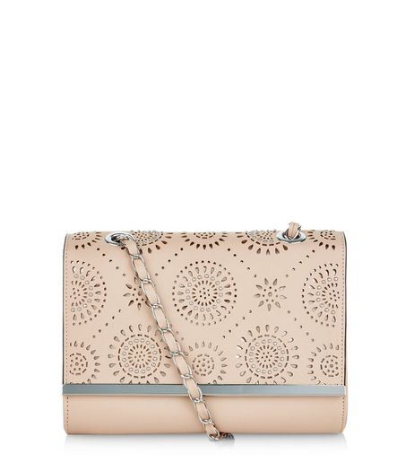 Cream Laser Cut Out Stud Chain Shoulder Bag  | New Look