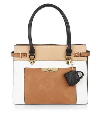 Tan Colour Block Purse Clip Tote Bag