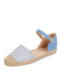 Teens Blue Stripe Ankle Strap Espadrilles  | New Look
