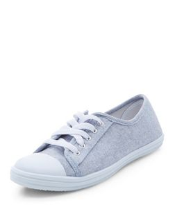 Teens Blue Lace Up Plimsolls  | New Look