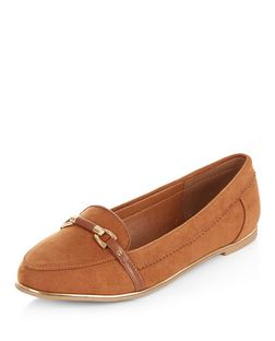 Teens Tan Link Trim Loafers  | New Look