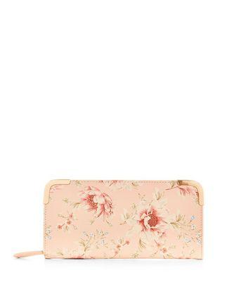 Pink Rose Print Zip Around Purse