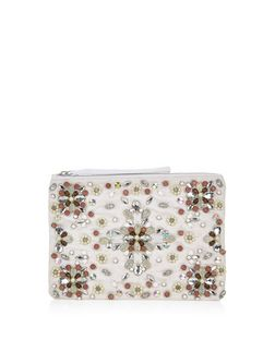 White Lace Beaded Flower Clutch | New Look