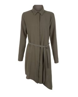 Apricot Khaki Asymmetric Shirt Dress | New Look