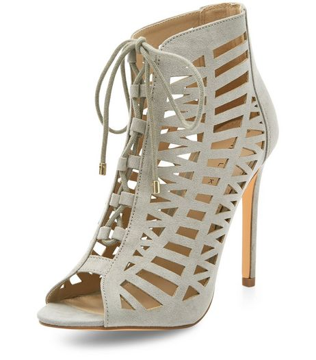 Grey Suedette Laser Cut Out Peep Toe Ghillie Heels  | New Look