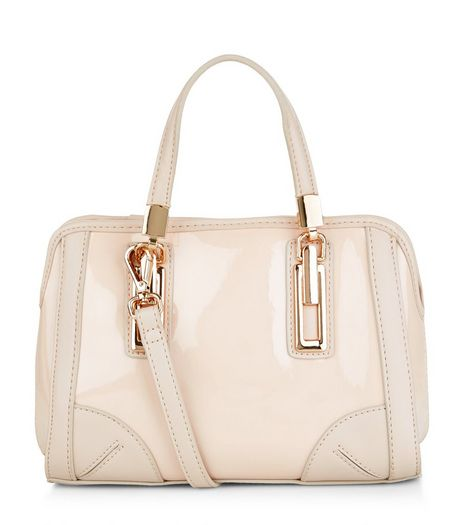 Cream Patent Mini Bowler Bag  | New Look