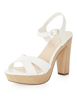 White Suedette Cross Strap Heeled Sandals  | New Look