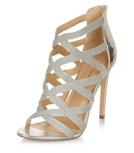 Silver Textured Cross Strap Heeled Sandals  | New Look