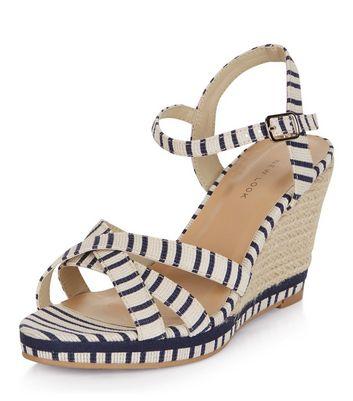 Sandalo  donna Blue Stripe Cross Strap Wedge Sandals
