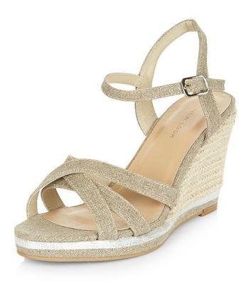 Sandalo  donna Silver Cross Strap Wedge Sandals