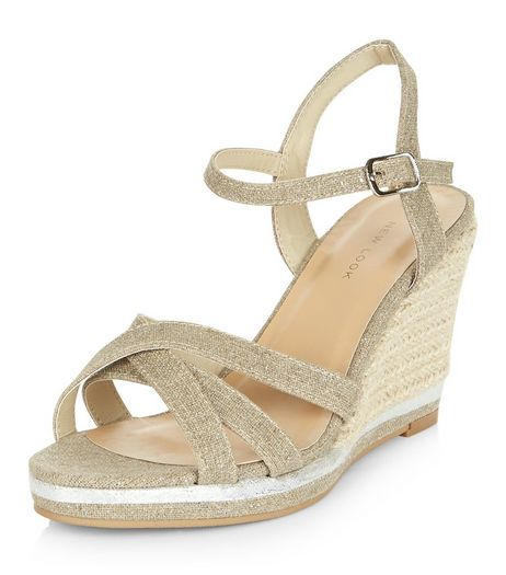 Silver Cross Strap Wedge Sandals  | New Look