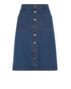 Brave Soul Blue Button Front Denim Skirt | New Look