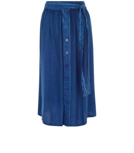 Brave Soul Blue Denim Button Front Midi Skirt | New Look