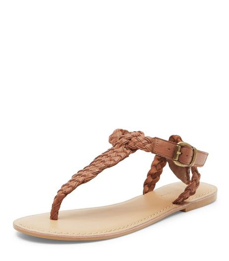 Tan Leather Woven Strap Sandals  | New Look