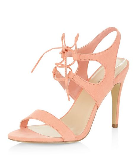 Pink Suedette Tie Front Heeled Sandals | New Look