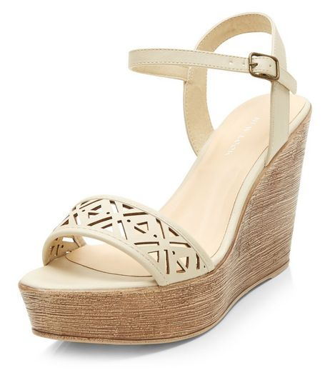 Cream Laser Cut Out Strap Wedge Sandals | New Look