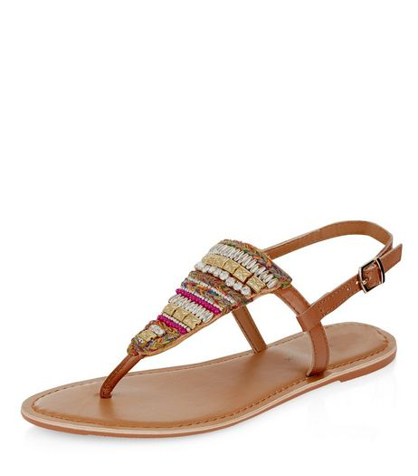 Wide Fit Tan Leather Beaded Panel Sandals  | New Look
