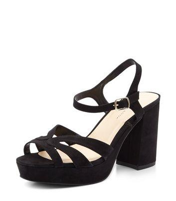 Sandalo  donna Wide Fit Black Suedette Strappy Platform Heels