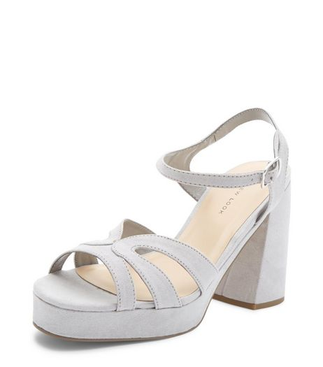 Wide Fit Grey Suedette Strappy Platform Heels  | New Look