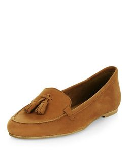 Tan Leather Tassel Front Loafers  | New Look
