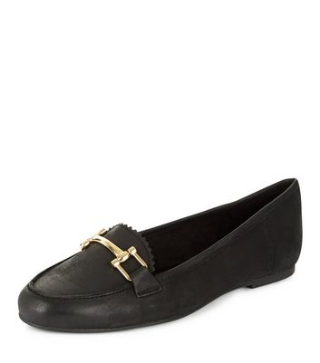 Mocassini  donna Black Leather Metal Trim Loafers