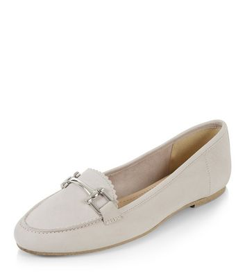 Mocassini  donna Grey Leather Metal Trim Loafers