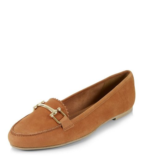Tan Leather Metal Trim Loafers  | New Look