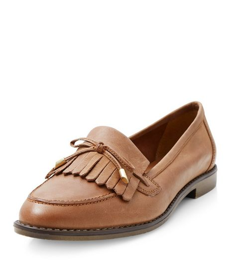 Tan Leather Bow Tassel Front Loafers | New Look