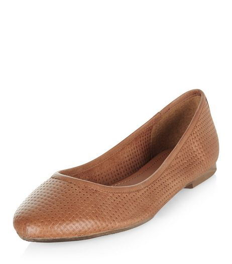 Tan Leather Woven Ballet Pumps  | New Look