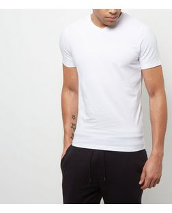 White Cotton Stretch V Neck T-Shirt | New Look