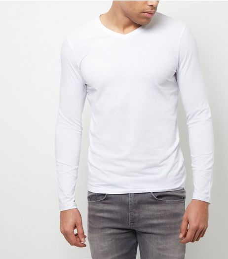 White Cotton Stretch V Neck Long Sleeve Top | New Look