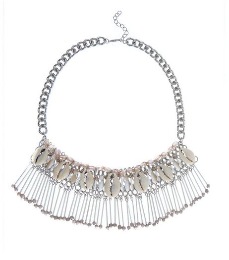 Silver Premium Shell Bib Necklace  | New Look