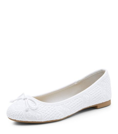 White Broderie Ballet Pumps | New Look