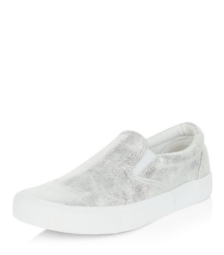 Silver Washed Metallic Slip On Plimsolls | New Look