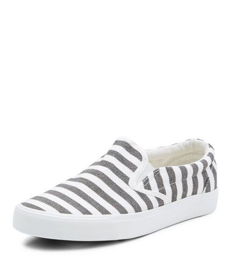 Grey Stripe Slip On Plimsolls  | New Look