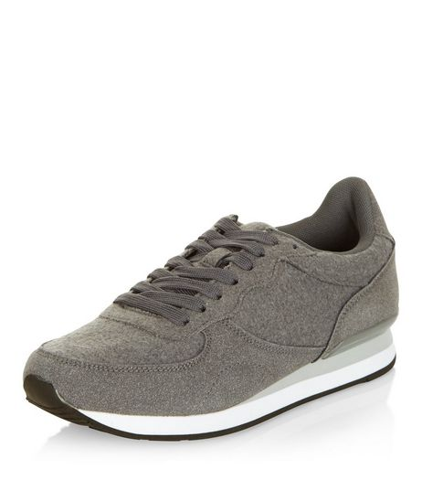 Grey Textured Panel Trainers  | New Look