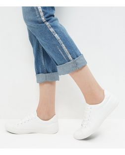 White Faux Leather Lace Up Trainers | New Look