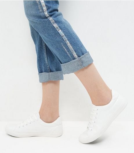 White Leather-Look Lace Up Trainers | New Look