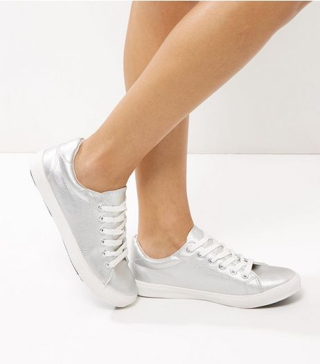 Silver Lace Up Trainers | New Look